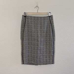 The Limited Black & White Jacquard Pattern Skirt